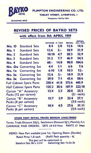 Wholesale price list dated April 8th 1959 which shows details of Garage or Opening Doors inclusion in BAYKO sets at the bottom