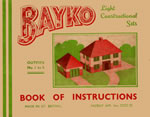 Front cover of the Sets 1 to 5 BAYKO Manual with Sae #6 appendix, dating from 1935 - click here for the full manual
