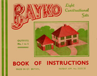 Front cover of the very first BAYKO manual for sets 1 to 5 dating from 1934